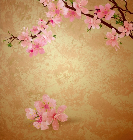 japanese paper art: spring blossom cherry tree and pink flowers on brown old paper grunge background