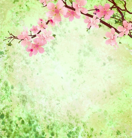 peach tree: pink cherry blossom branch on green grunge background easter illustration idea Stock Photo