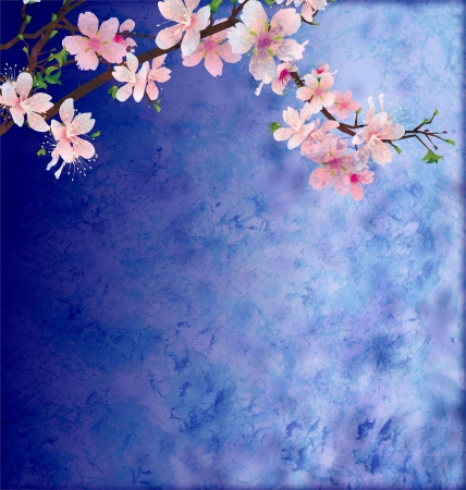 peach tree: pink cherry blossom branch on dark blue  grunge background easter illustration idea