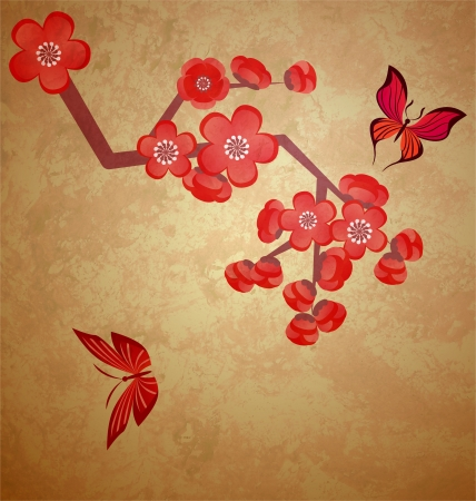 blossoming tree illustration on grunge old paper background illustration