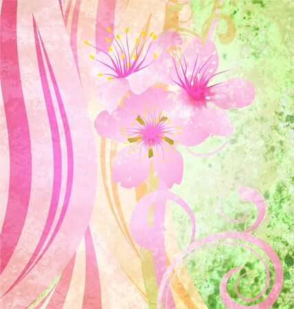 grunge vintage style background with pink spring flowers and green elements photo