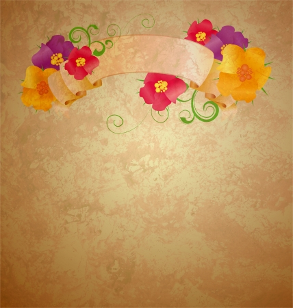 flower border pink: colorful flowers with old scroll on gunge old paper background Stock Photo