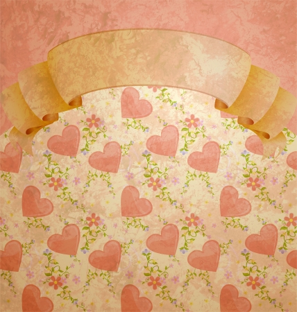 vintage style scroll blank with pastel hearts pattern Stock Photo - 14821068