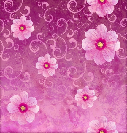 pink flowers romantic spring vintage background, love and cute Stock Photo - 14820953