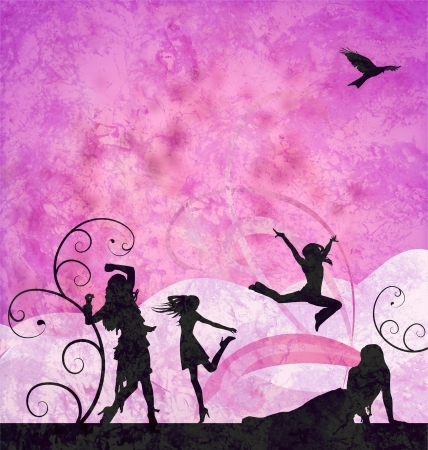 fashion girls silhouettes on grunge pink and violet background photo