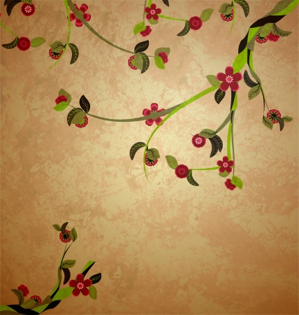 blossoming tree illustration on grunge old paper background Stock Photo
