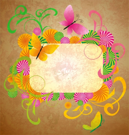 old paper background with butterflies and flourishes frame photo