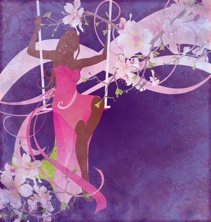 abstract love: woman sillhouette in pink evening dress on the swings on floral blue grunge background