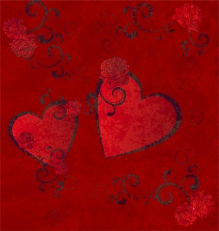 red hearts grunge background photo