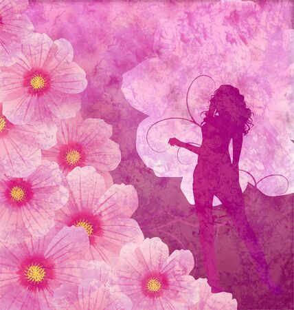 pink grunge cosmos flowers and girl silhouette photo