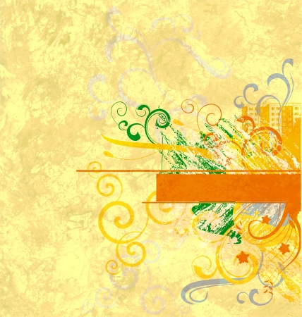 yellow textured abstract ornamented background photo