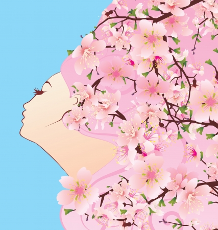 beauty girl profile with spring blossoming hair cherry flowers