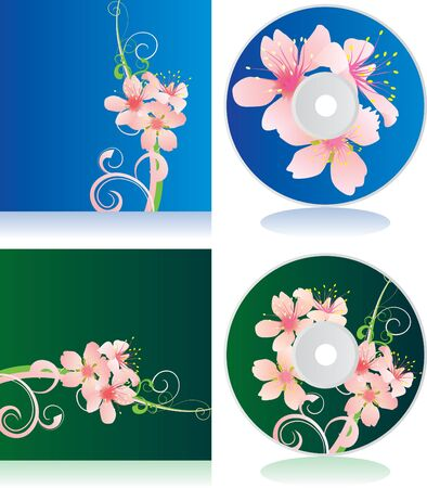 vector set of disc covers with flowers photo