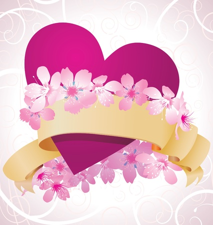 purple heart and pink flowers romance  valentines card photo