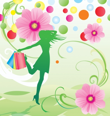 spring sale: spring and summer flowers sale vector with girl with shopping bags