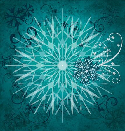 green-blue snowflakes grunge square background photo