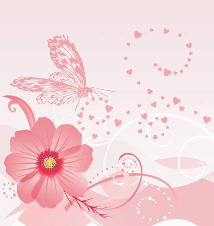 cosmos flower with butterfly vector illustration illustration