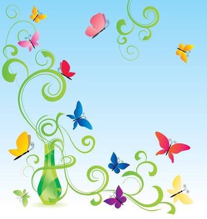 fragrances: green spring fragrance bottle with flourishes and butterfly Stock Photo