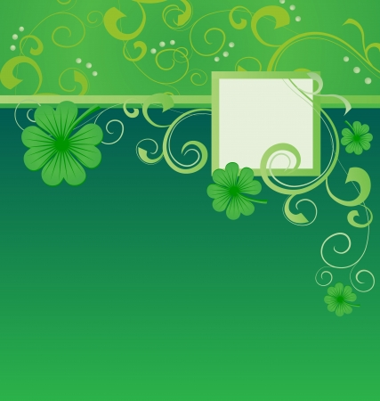 green vector St. Patrick day frame with clover photo
