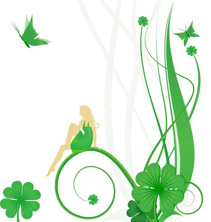 Green St. Patrick Day  with fairy, butterflies and clover photo