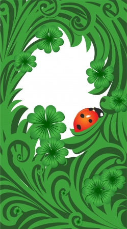 green vector St. Patrick day frame with clover and ladybird photo