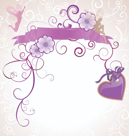 violet or purple fairies and flowers heart scrollon white background photo