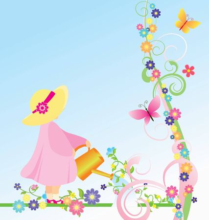 girl in pink dress and yellow hat watering flowers in the garden