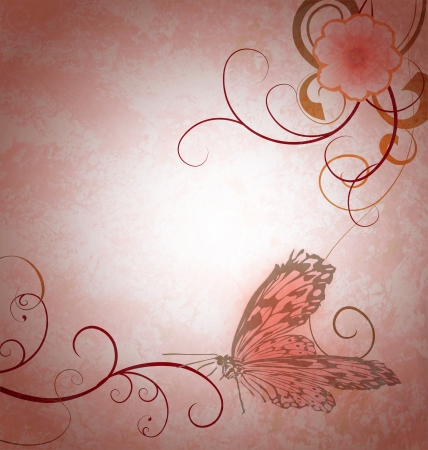 light pink grunge background with cosmos background and detailed butterfly photo