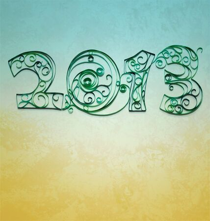 retro style paper with quilling  2013 year numbers photo