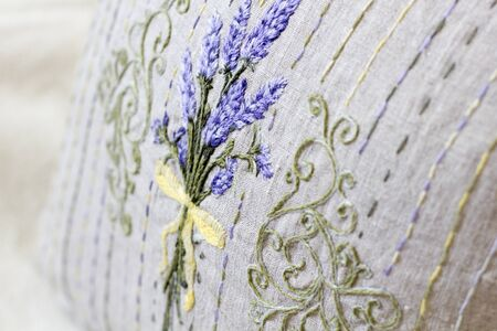 Provence style embroidery pillow with lavender illustration
