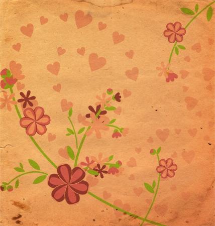 vintage style  flowers illustration pink old paper illustration