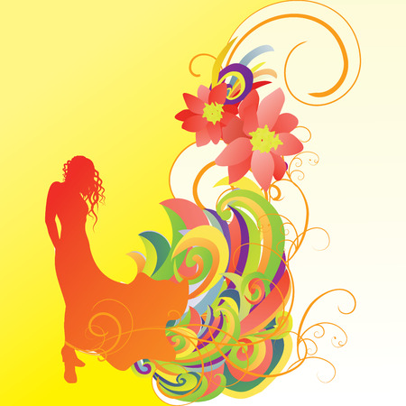 nature woman: woman in gown silhouette bright yellow Illustration