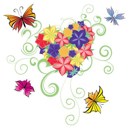 flowers and butterflies heart Vector