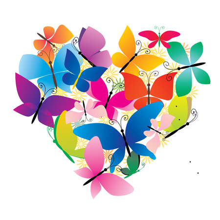 colorful heart: vector butterflies colorful heart