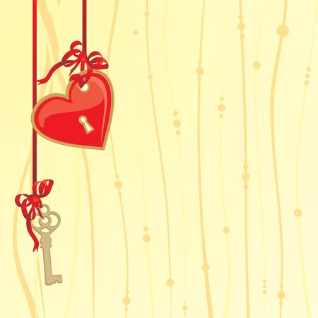 valentines day card with red heart and gold decor Vector