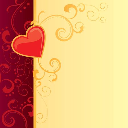 valentines day card with red heart and gold decor