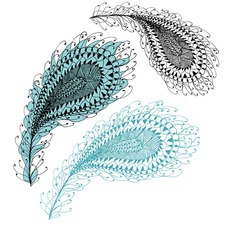 blue zentangle feather