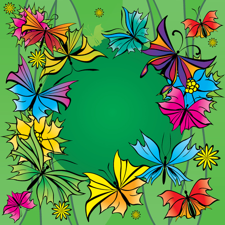 colorful butterflies on green background blank center Illustration