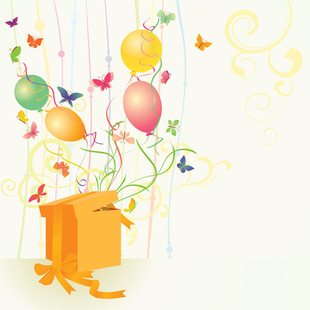 yellow gift box with butterflies and balloons Illustration