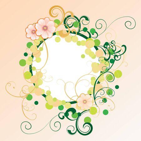 flowers beige circle