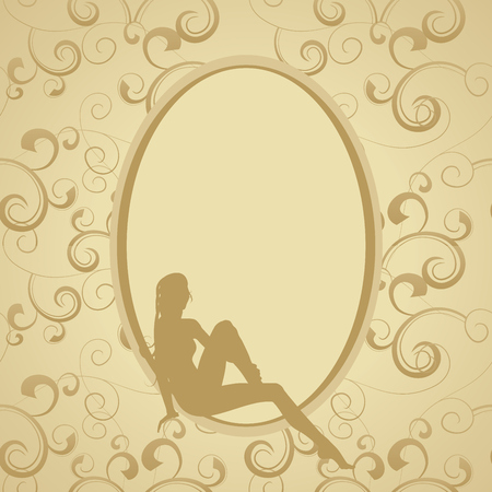 victorian girl: golden vintage frame with beauty woman sillhouette Illustration