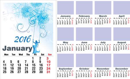 meses del año: 2016 año calendario meses Inglés Vectores