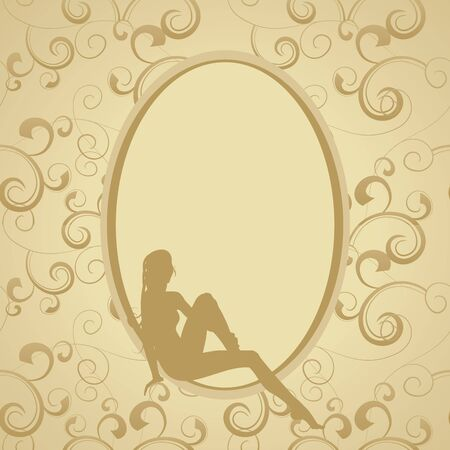 sillhouette: golden vintage frame with beauty woman sillhouette Illustration