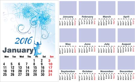 months of the year: 2016 year months english calendar