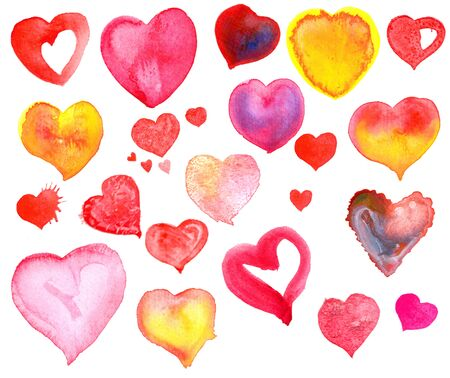 aquarelle: pink, red and yellow aquarelle hearts Stock Photo