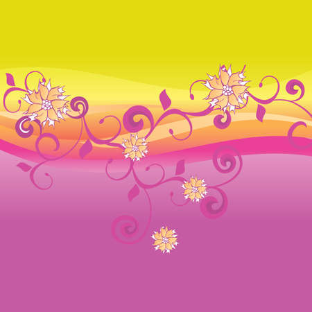 yellow vector: pink and yellow vector background with flowers Illustration
