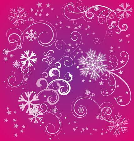 snow background: winter snowflakes magenta background