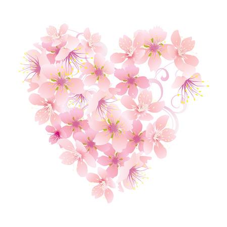 Vektor rosa Blumen Herz isoliert auf weiß