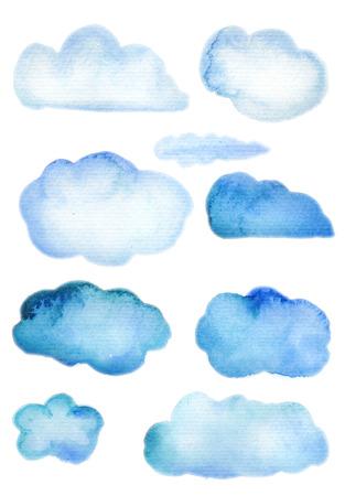 nubes caricatura: nubes, acuarela, acuarela, cielo, gotas, lluvia, pinturas, frontera, logotipo, dibujo animado, primer, aislado, el habla, la impresión, la nubosidad, blanco, gotas de lluvia, salpicaduras, muestra, símbolo, tinte, acuarela, gráfico, salpicadura, goteo, dibujo, pintura, etiqueta, abstracta, tinta, IL Foto de archivo