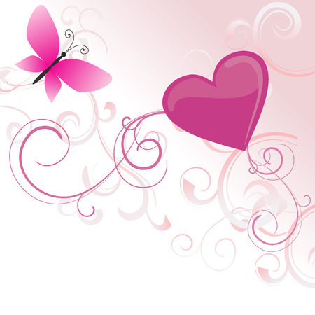 butterfly isolated: pink heart with flowers and butterfly isolated on white Stock Photo